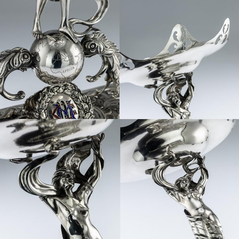 20th Century Antique Edwardian Art Nouveau Solid Silver Figural Centrepiece, circa 1908 For Sale