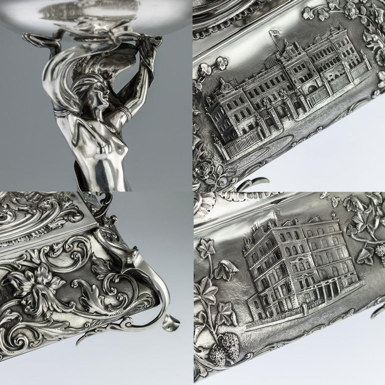 Antique Edwardian Art Nouveau Solid Silver Figural Centrepiece, circa 1908 For Sale 2
