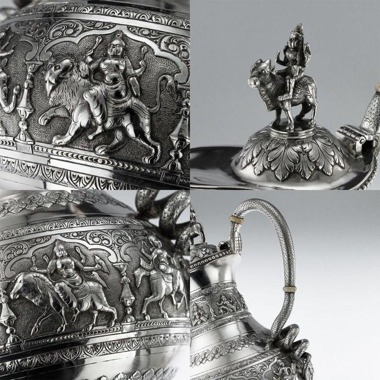 Antique Indian Solid Silver Swami Tea Service, Krishniah Chetty, circa 1910 For Sale 7