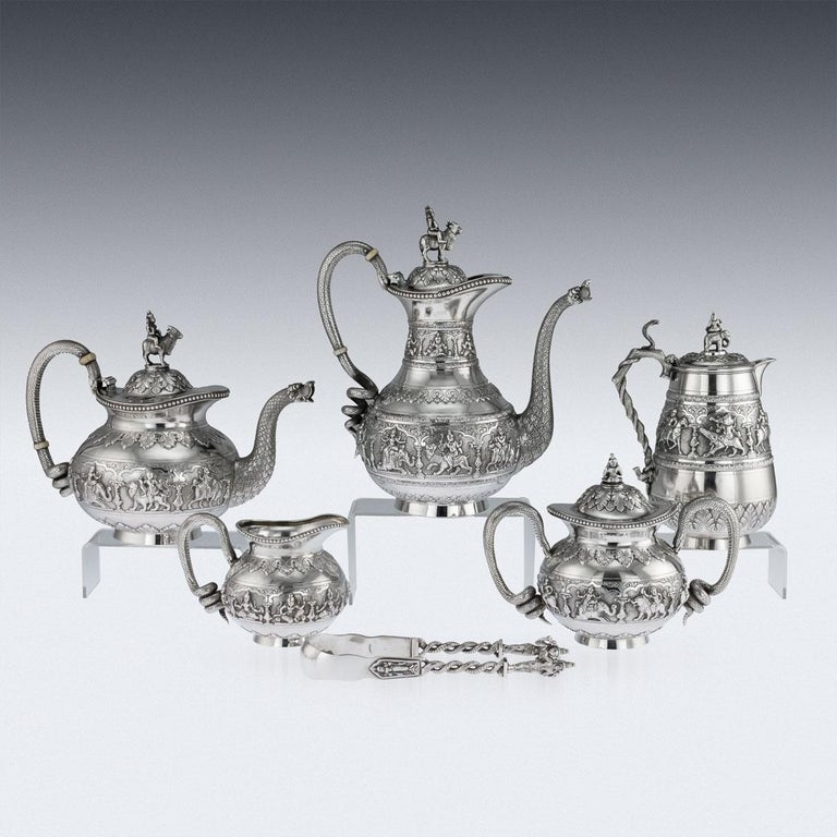 Antique Indian Solid Silver Swami Tea Service, Krishniah Chetty, circa 1910 In Good Condition For Sale In London, London