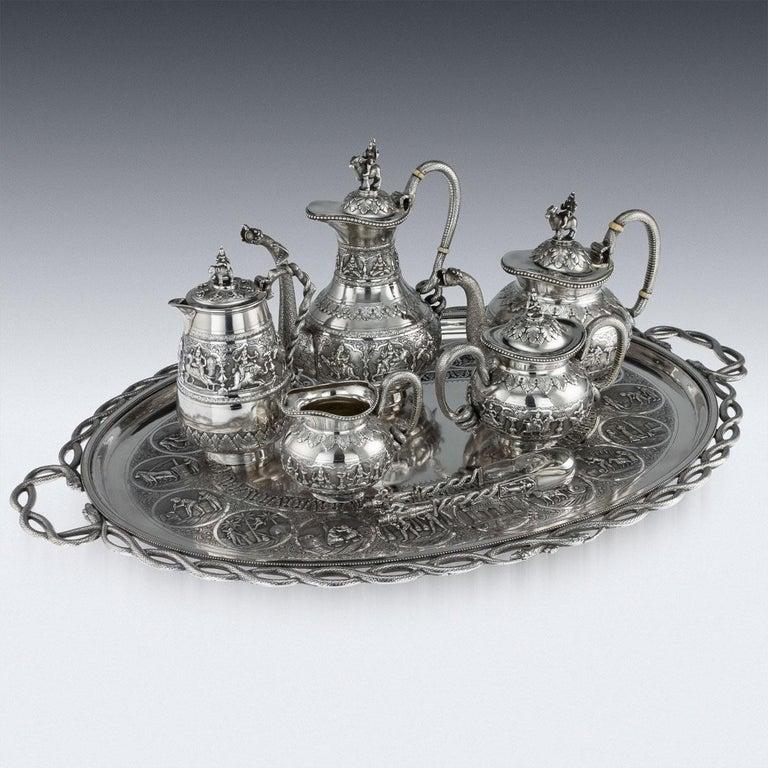 Antique Indian Solid Silver Swami Tea Service, Krishniah Chetty, circa 1910 For Sale 2
