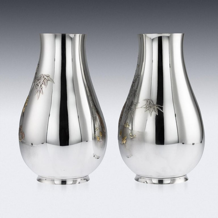 Antique Japanese Exceptional Solid Silver Vases, Ametani Yumin, circa 1900 In Good Condition For Sale In London, GB