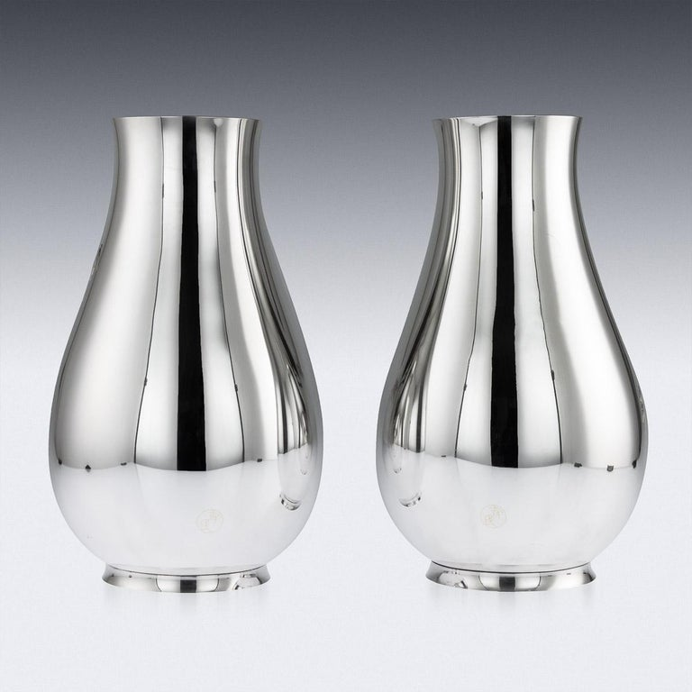 20th Century Antique Japanese Exceptional Solid Silver Vases, Ametani Yumin, circa 1900 For Sale