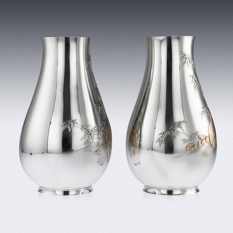 Antique Japanese Exceptional Solid Silver Vases, Ametani Yumin, circa 1900 For Sale 1