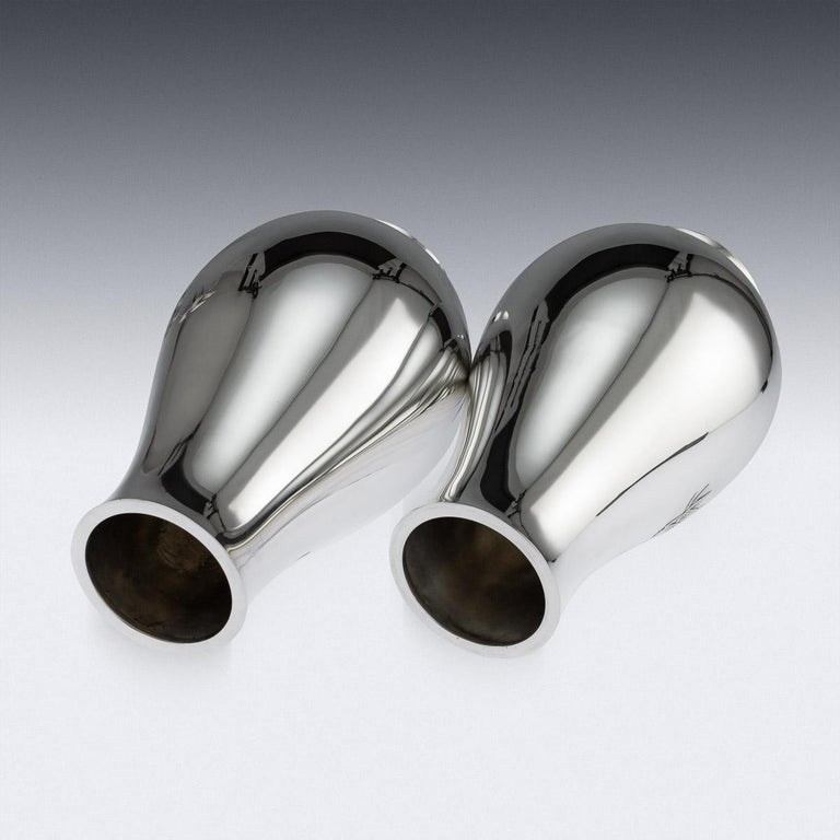 Antique Japanese Exceptional Solid Silver Vases, Ametani Yumin, circa 1900 For Sale 3