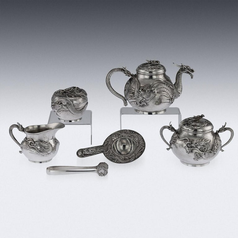 Antique Japanese Solid Silver Dragon Tea Service on Tray, Shokosha, circa 1900 In Good Condition For Sale In London, London