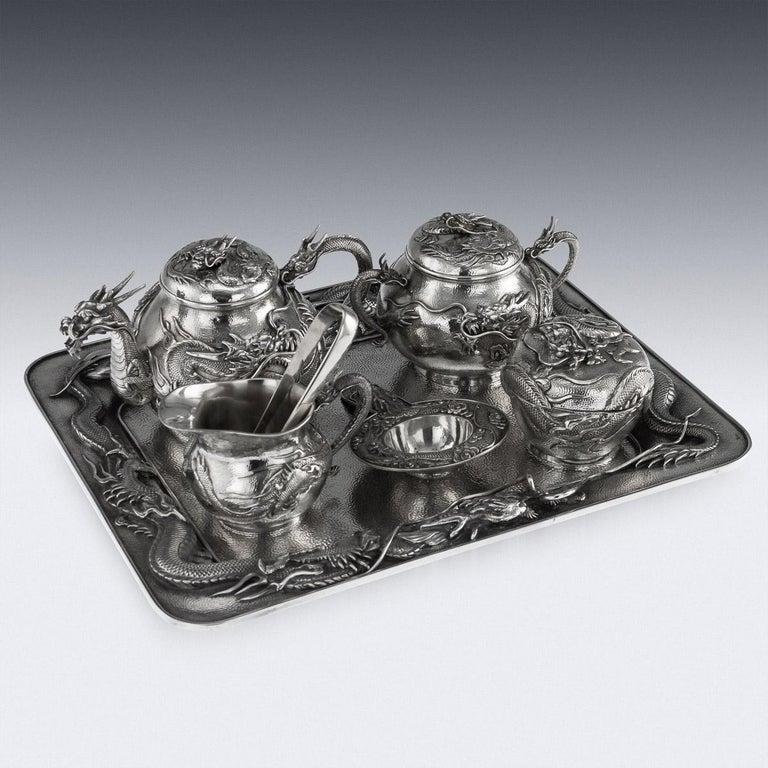 Antique Japanese Solid Silver Dragon Tea Service on Tray, Shokosha, circa 1900 For Sale 1