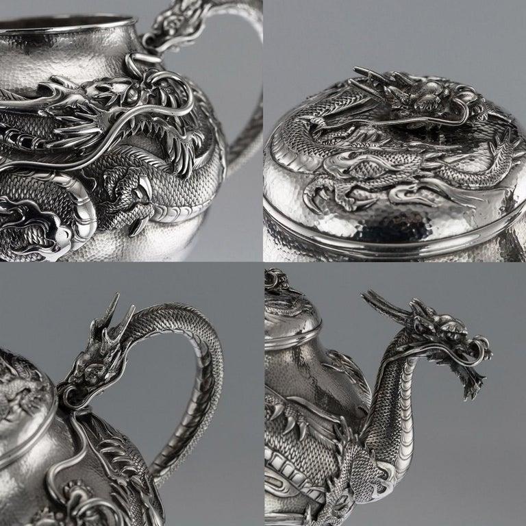 Antique Japanese Solid Silver Dragon Tea Service on Tray, Shokosha, circa 1900 For Sale 4