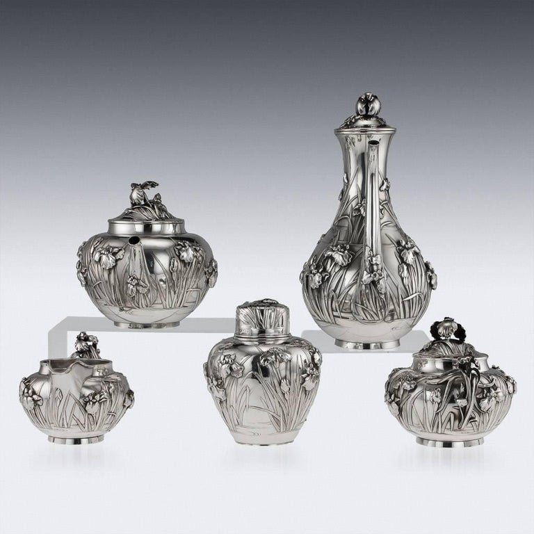 Sterling Silver Antique Japanese Solid Silver Tea and Coffee Service, Arthur & Bond, circa 1900