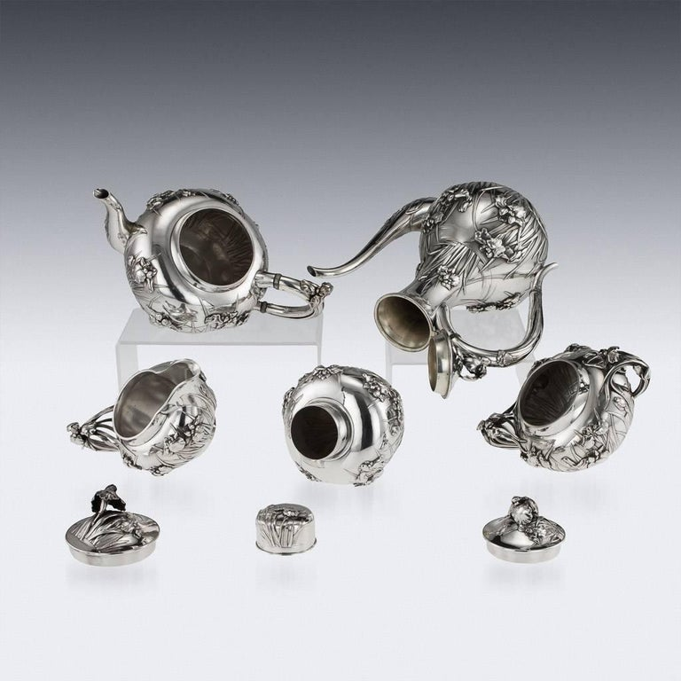 Antique Japanese Solid Silver Tea and Coffee Service, Arthur & Bond, circa 1900 2