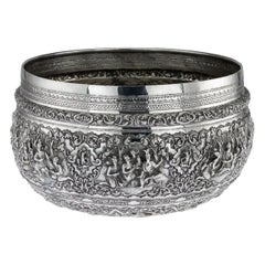 Antique Monumental Burmese Solid Silver Thabeik Bowl, Rangoon, circa 1900