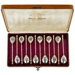 Antique Russian Set of 12 Silver-Gilt Niello Spoons, Maria Sokolova, circa 1900