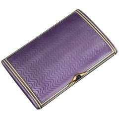 Antique Russian Silver Gilt, Enamel and Sapphire Cigarette Case Circa 1910
