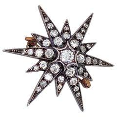 Antique 2.10 Carat Diamond Six Point Starburst Pin / Pendant