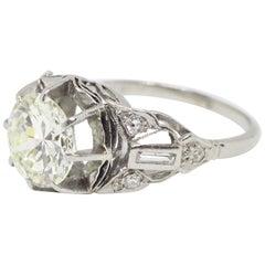 Antique 2.11 Carat Transitional Cut Diamond Platinum Engagement Ring, Circa 1910