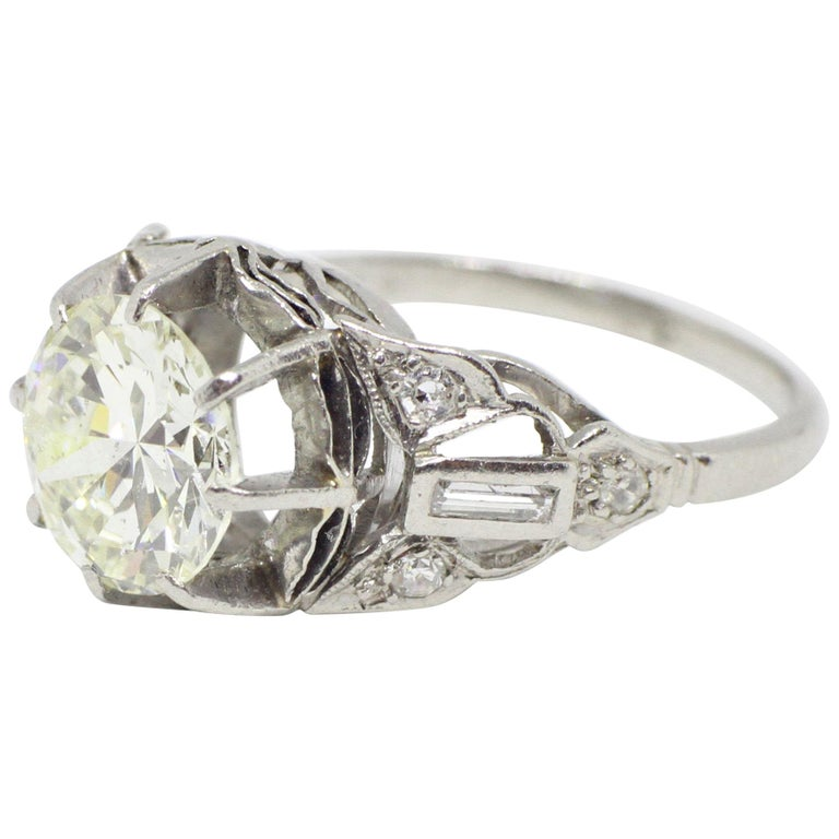Antique Engagement Rings For Sale: Antique 2.11 Carat Transitional Cut Diamond Platinum