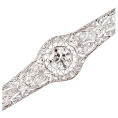 Antique 2.15 Carat Diamond Platinum Filigree Bar Brooch