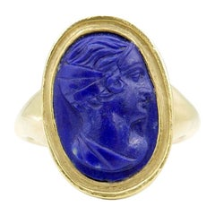Antique 22 Karat Yellow Gold Carved Lapis Cameo Ring Depicting Apollo