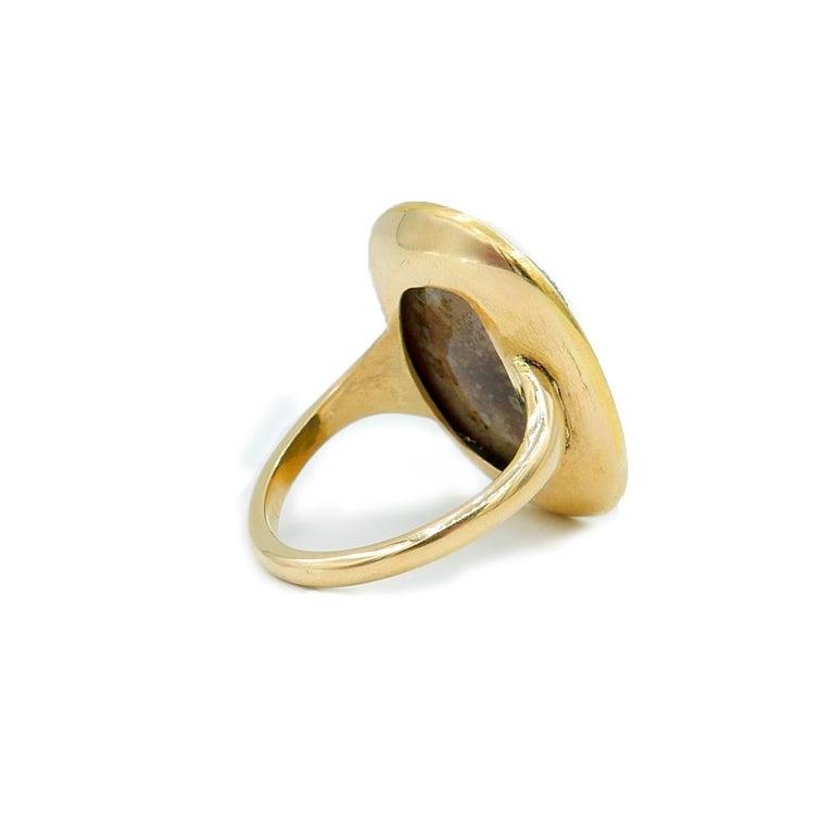 Classical Roman Antique 22 Karat Yellow Gold Hardstone Agate Cameo Roman Emperor Ring For Sale