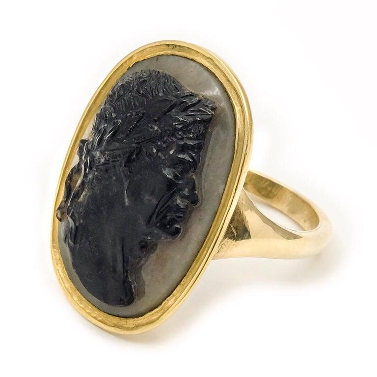 Women's or Men's Antique 22 Karat Yellow Gold Hardstone Agate Cameo Roman Emperor Ring For Sale