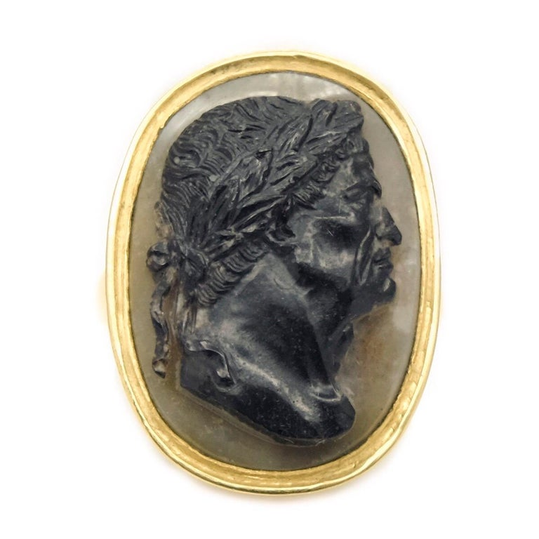 A large agate cameo ring depicting the Roman emperor Vespasian (9 - 79 AD).  The high carat gold mounting is modern.  The cameo is Italian, early 18th century.  The cameo measures 2.5 x 1.8cm Ring size 9 US but easily sizable. Weighs 15 grams