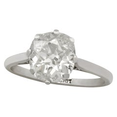 Antique 2.20 Carat Diamond and White Gold Solitaire Ring