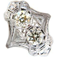 Antique 2.20 Carat Old Mine Round Natural Diamonds Ring 18 Karat
