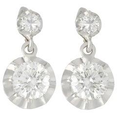 Antique 2.22 Carat Diamond and White Gold Drop Earrings, Circa 1930