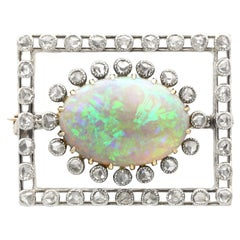 Antique 2.23 Carat Opal and Diamond Yellow Gold Brooch, Circa 1900