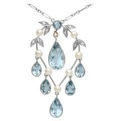 Antique 2.27 Carat Aquamarine Diamond Pearl and 14k Yellow Gold Pendant