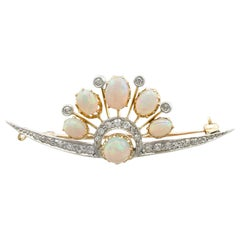 Antique 2.28 Carat Opal and Diamond Yellow Gold Brooch