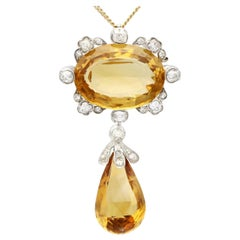 Antique 22.91 Carat Citrine and Diamond Yellow Gold Pendant or Brooch