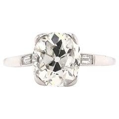 Antique 2.30 Carat Old Mine Cut Diamond Platinum Engagement Ring