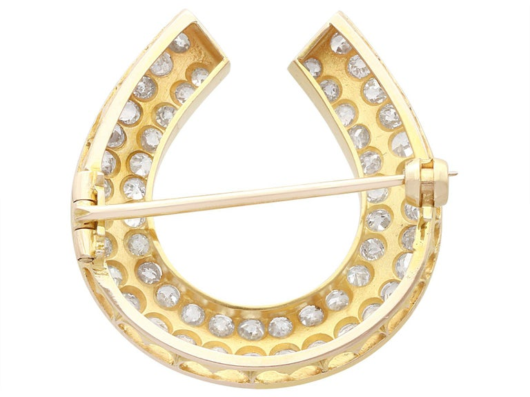Antique 2.36 Carat Diamond and 9k Yellow Gold Horseshoe Brooch, Circa 1890 For Sale 1