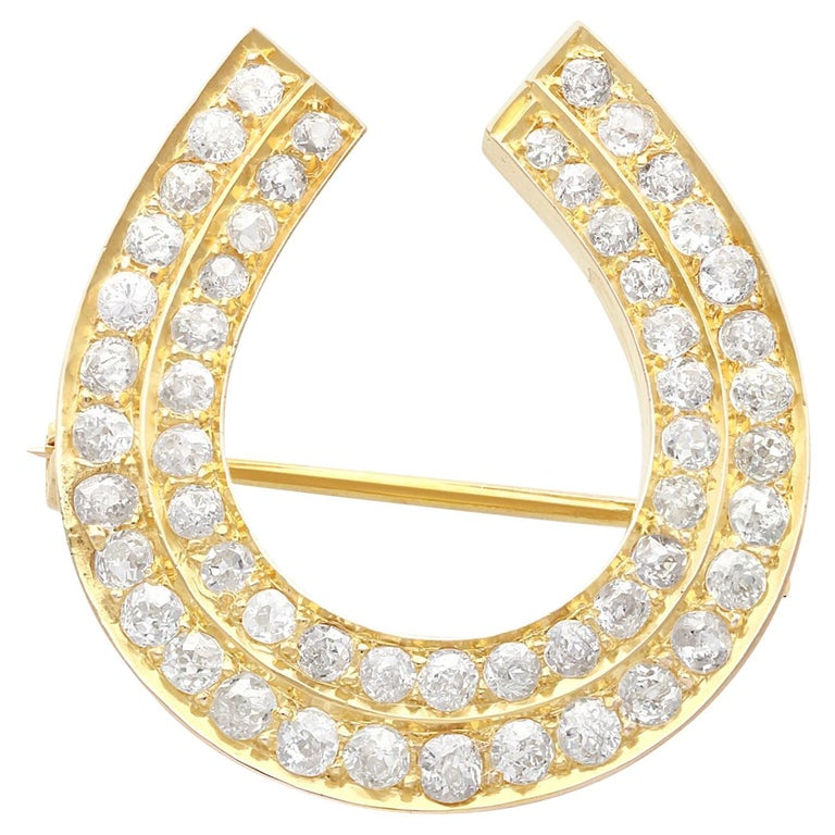 Antique 2.36 Carat Diamond and 9k Yellow Gold Horseshoe Brooch, Circa 1890 For Sale