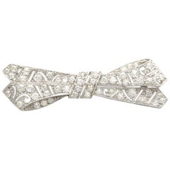 Antique 2.36 Carat Diamond and Platinum 'Bow' Brooch
