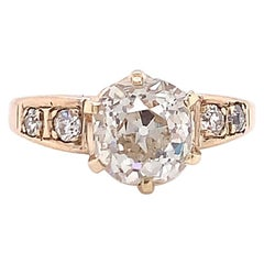 Antique 2.38 Carat Old Mine Cut Diamond Yellow Gold Engagement Ring