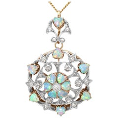 Antique 2.38 Carat Opal and Diamond Yellow Gold Pendant Brooch, 1880s