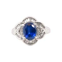 Antique 2.39 Carat Sapphire and Diamond Engagement Ring Set in Platinum