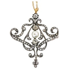 Antique 2.40 Carat Old Mind Cut Diamonds and Natural Pearl Pendant