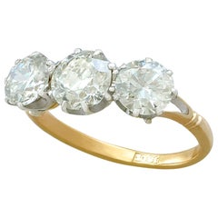 Antique 2.41 Carat Diamond Yellow Gold Three-Stone Ring