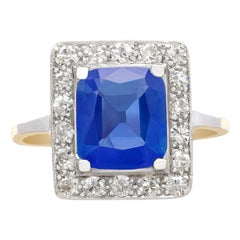 Antique 2.44 Carat Ceylon Sapphire and Diamond Yellow Gold Ring