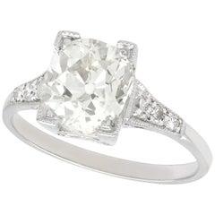 Antique 2.45 Carat Diamond and Platinum Solitaire Engagement Ring, Circa 1930