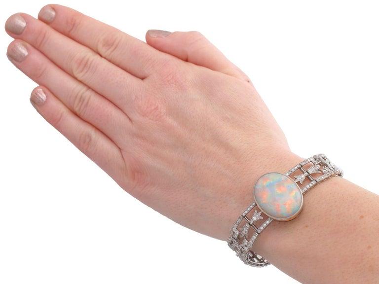 Antique 24.66Ct Oval Cut Opal and 9.81Ct Diamond Platinum Bracelet For Sale 10