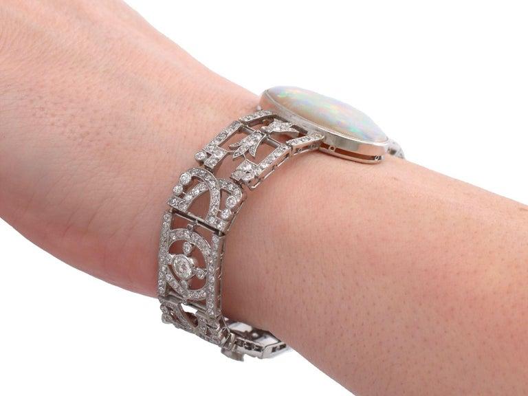 Antique 24.66Ct Oval Cut Opal and 9.81Ct Diamond Platinum Bracelet For Sale 11