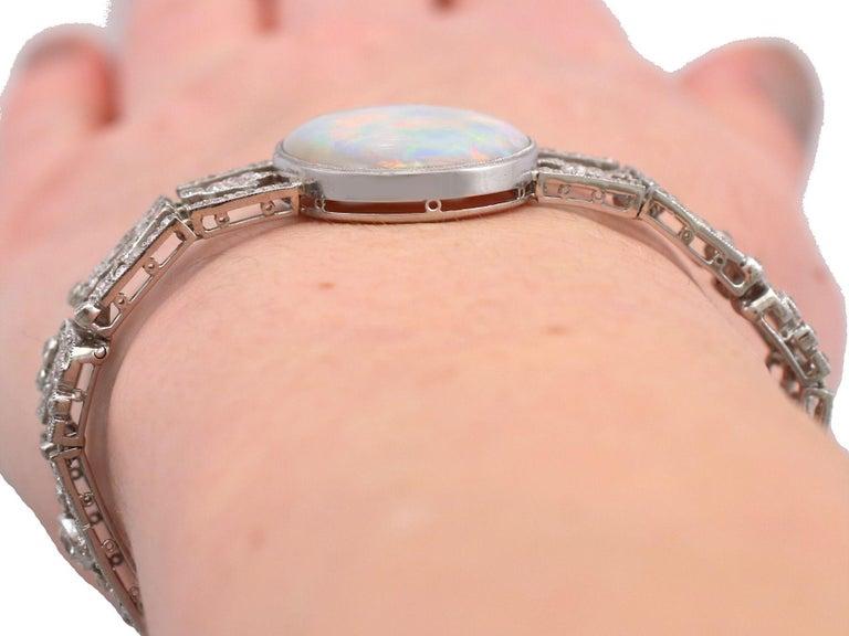 Antique 24.66Ct Oval Cut Opal and 9.81Ct Diamond Platinum Bracelet For Sale 12