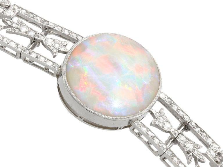 Women's or Men's Antique 24.66Ct Oval Cut Opal and 9.81Ct Diamond Platinum Bracelet For Sale