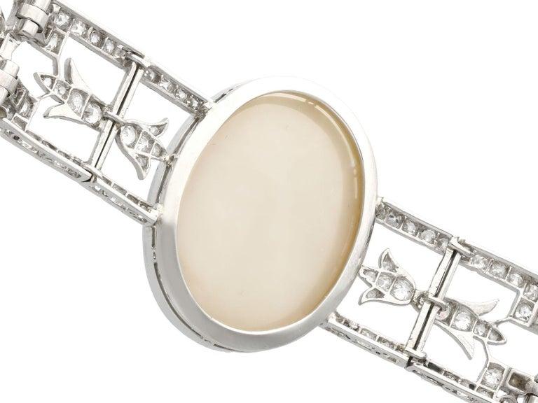 Antique 24.66Ct Oval Cut Opal and 9.81Ct Diamond Platinum Bracelet For Sale 1
