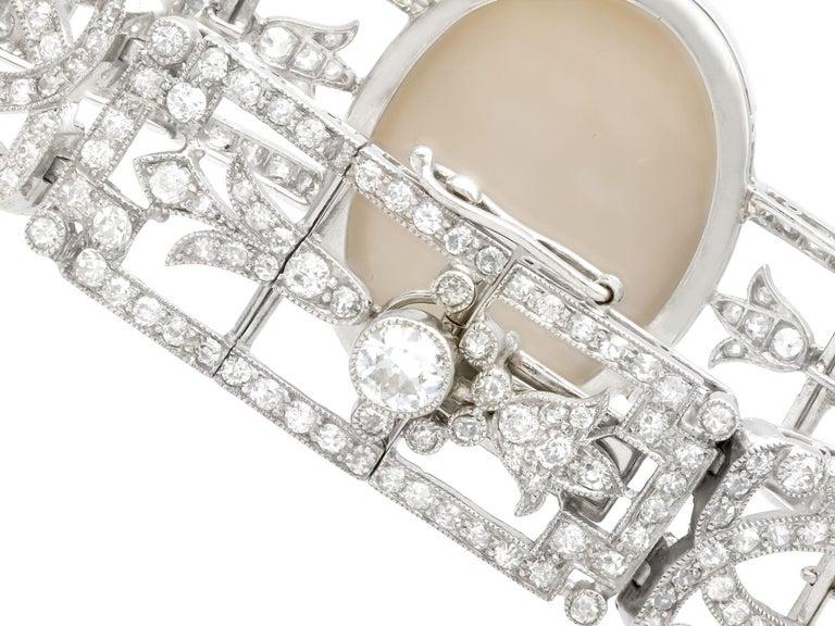 Antique 24.66Ct Oval Cut Opal and 9.81Ct Diamond Platinum Bracelet For Sale 3