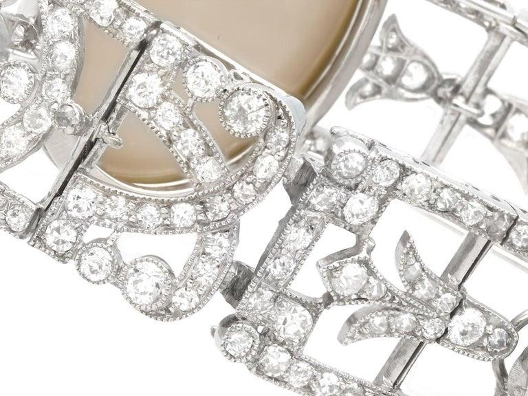 Antique 24.66Ct Oval Cut Opal and 9.81Ct Diamond Platinum Bracelet For Sale 4